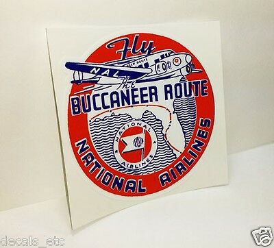 "NATIONAL AIRLINES ""FLY THE BUCCANEER ROUTE"" Vintage Style Decal / Vinyl Sticker"