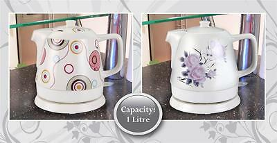 New Traditional Ceramic Electric 1 Litre Kettle Wireless Teapot Tea Coffee