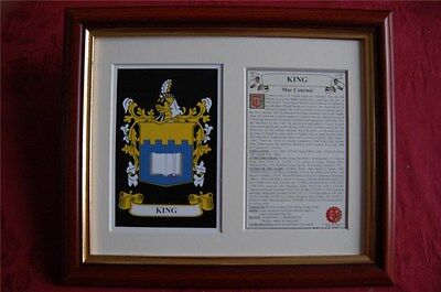 King Family FRAMED Heraldic Coat of Arms Crest + History