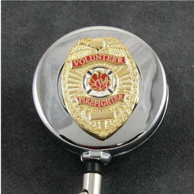 Volunteer Firefighter Fireman Retractable Security ID Card Badge Holder Reel