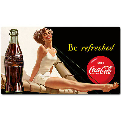 Coca-Cola Be Refreshed Sail Girl Tin Metal Sign Vintage Style Decor 16.5 x 9.4