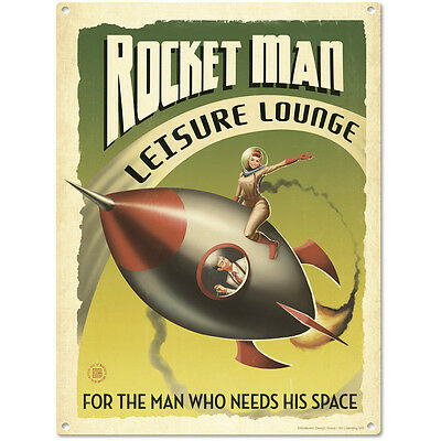 Rocket Man Leisure Lounge Pinup Girl Sign Man Cave Decor Vintage Style 12 x 16