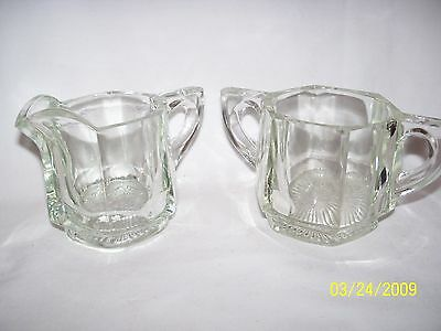 Vintage Heisey Heavy Clear Panel Glass Creamer and Sugar Bowl