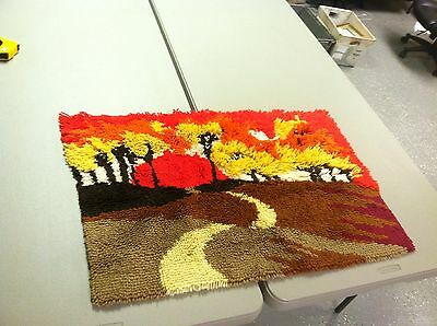 Hand Crafted Sun Rise Sunset Forest Landscape Completed Latch Hook Rug ~ 36 X 24
