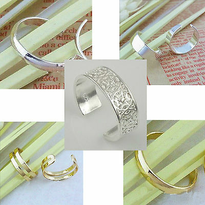 NEW Gold Plated or Silver Plating 3mm or 6mm Toe Ring Womens Girls (6 Styles)