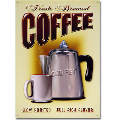 Coffee Fresh Brewed Diner Metal Sign Vintage Style Reproduction 11.8 x 16.8