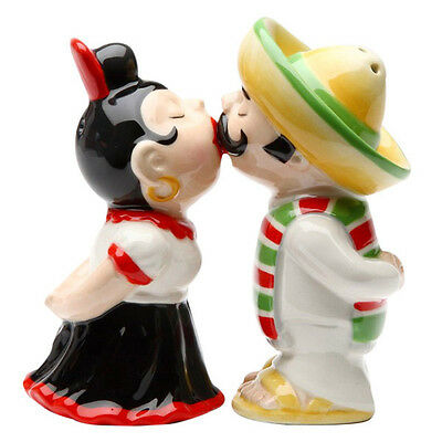 Mexican Couple Kissing Salt and Pepper Shakers Magnetic Ceramic Shaker Set