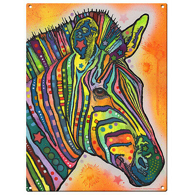 Zebra Dean Russo Pop Art Metal Sign African Wild Steel Wall Decor 12 x 16