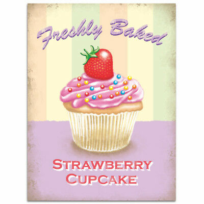 Strawberry Cupcake Freshly Baked Vintage Style Bakery Kitchen Sign 12 x 16