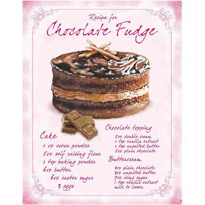 Chocolate Fudge Cake Recipe Metal Sign Vintage Style Bakery Kitchen 12 x 16