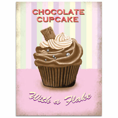 Chocolate Cupcake with a Flake Metal Sign Vintage Style Bakery Kitchen 12 x 16