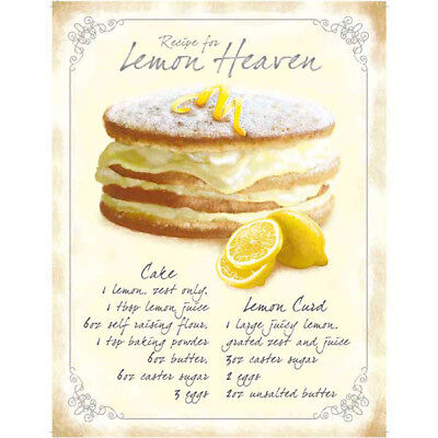 Lemon Heaven Cake Recipe Metal Sign Vintage Style Bakery Kitchen Decor 12 x 16