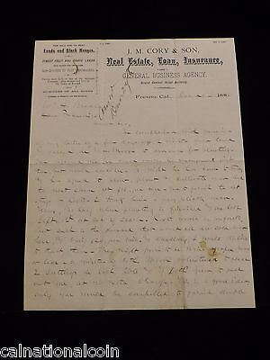 J.M Cory&Son Real Estate,Loan,Insurance Fresno,CA Letter Head Letter 1886