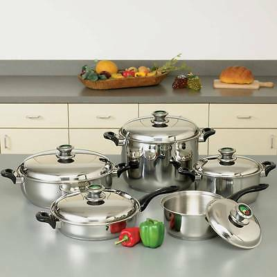 HealthSmart KTWC10 10pc 12-Element Waterless T304 Stainless Steel Cookware Set
