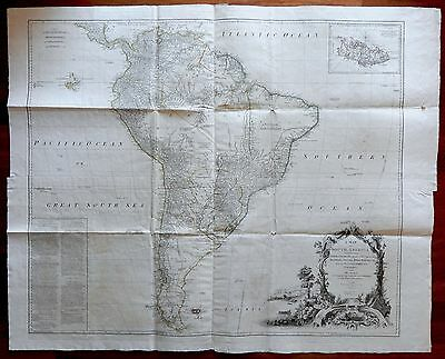 1775 Magnificent D'Anville Wall Map of SOUTH AMERICA - inset chart of Falkland