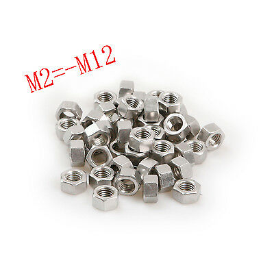 M2-M12 Stainless Steel Hex Bolt Kit 304 Nut Washer Hexagon Nut 50Pcs/10Pcs