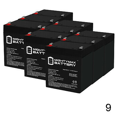 BP4.5-12T Mighty Max 9 Pack ML5-12 12V 5AH UPS Battery Replaces BP4.5-12-T2