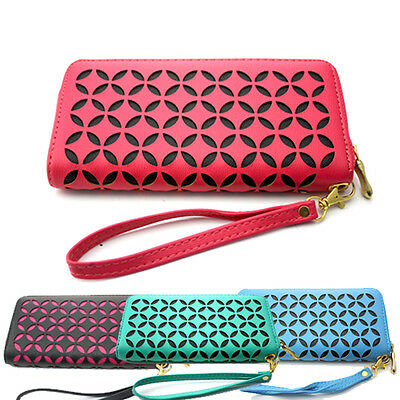 Thick Leather Ladies Wallets Hollow Out Pattern Full Length Zip Closure  (104)