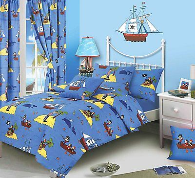 Toddler Bed Duvet Cover Set Pirates Treasure Island Skulls Ship Blue Fun Bright
