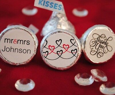108 Personalized Mr. & Mrs. Hearts, Thank You! Hershey Kiss Stickers Favors