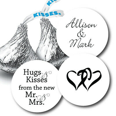 324 Hugs & Kisses from the new Mr. & Mrs. Hershey Kiss Personalized Stickers