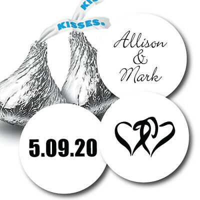 432 Personalized Names and Hearts Hershey Kiss Labels Stickers Favors