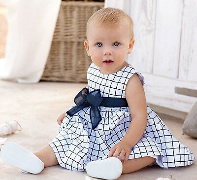 Toddler Baby Girls Skirt Cotton Top Plaids Dress Outfit Kids Summer Clothes 1-3Y