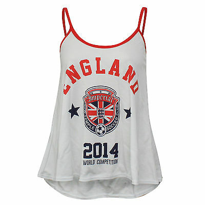 New Womens I Love England Cami Vest Top World Cup 2018 Football Soccer 100/%