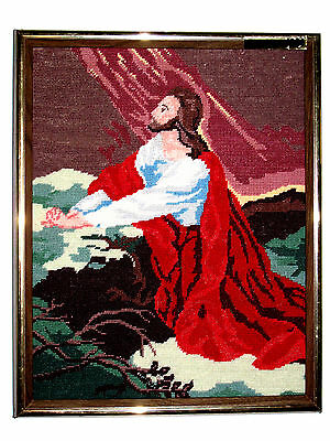 Hand Crafted Framed Needle Point Needlepoint JESUS CHRIST Praying in the Garden