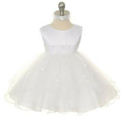 New Baby Girls Baptism Christening Dedication Wedding Flower Girl White Dress