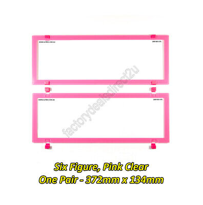Number Plate Covers 6 Figure Standard PINK Clear Pair 6BCNL QLD NSW VIC SA WA NT