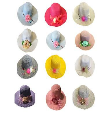 50pcs Ladies Summer Beach Hat Wide Brim Straw Hat Holidays Wholesale Job lot
