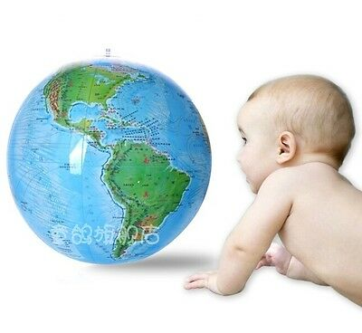 "FD629 15"" Globe Inflate Inflatable Earth World Teacher Beach Ball Geography Toy"
