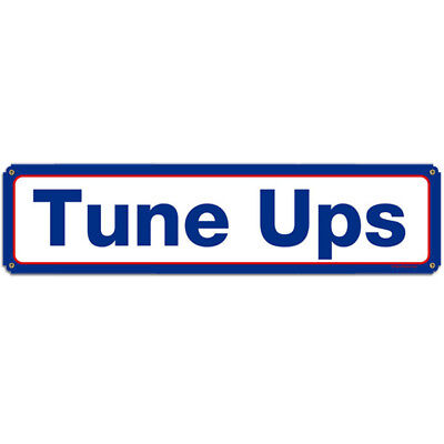 Tune Ups Blue and Red Metal Sign Petroliana Mobil Garage Wall Decor 20 x 5