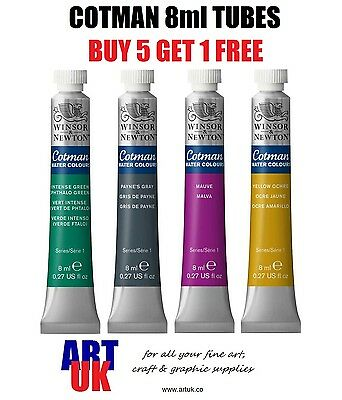 Winsor & Newton Cotman Watercolour 8ml Tubes of Artists Paint - BUY 5 GET 1 FREE