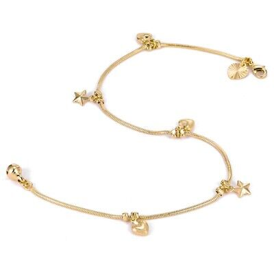 "9ct 9k Yellow ""Gold FILLED"" Curb Ring Fish & Bell Charm ANKLE CHAIN ANKLET 10.5"""