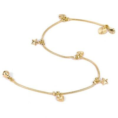"""9ct 9k Yellow """"Gold FILLED"""" Heart & Bell Charm ANKLE Snake CHAIN ANKLET 10.6"""""""