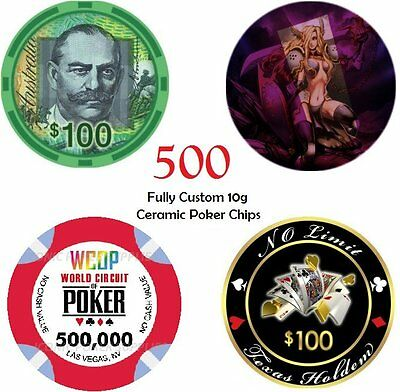 500 x 10g CUSTOM MADE CERAMIC POKER CHIPS