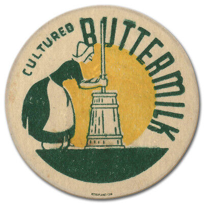 Cultured Buttermilk Bottle Cap Churned Vintage Kitchen Distressed Metal Sign 14