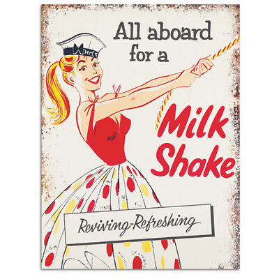 All Aboard For A Milkshake Sailor Girl Metal Sign Ice Cream Parlor 12 x 16