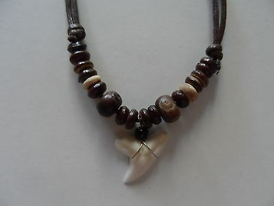 "Beach Island Surfer Necklace ""GENUINE-SHARK-TOOTH""coco-bead ""CHECKOUT OUR STORE"""