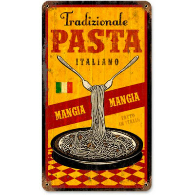 Pasta Mangia Traditional Italian Food Vintage Restaurant Metal Sign 8 x 14