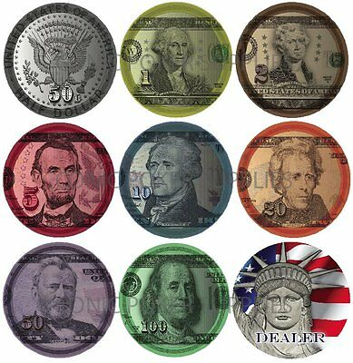 500x US CURRENCY CERAMIC POKER CHIPS Custom Made