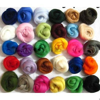 Lot of 36 colors Merino Wool Fibre Roving For Needle Felting Hand Spinning DIY