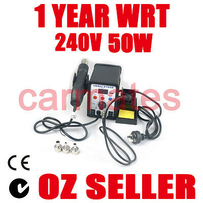 HOT AIR GUN SOLDERING IRON REWORK SMD STATION 3 Nozzles 1 tip CE RHOS SYD OZ
