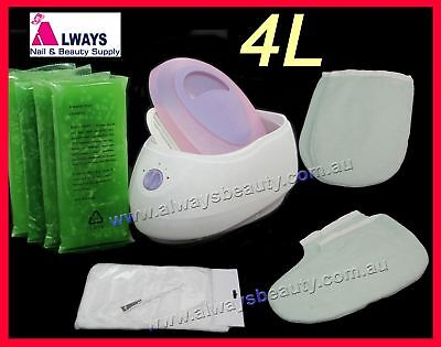 Kit 4L Paraffin Wax Bath Warmer +Brush +Booties +Mitts +50Bag +450gX4 ALOE VERA