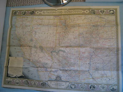 VINTAGE THE SOUTHWESTERN UNITED STATES MAP National Geographic June 1940