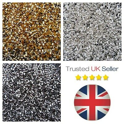 2mm Tube Crimp Beads Findings Beading Jewellery Stopper Beads Gold Silver ML