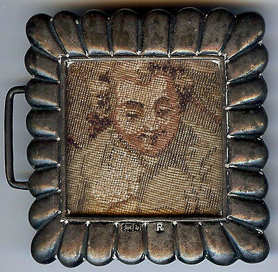 Antique Victorian Sterling Silver Needlepoint Handsome Young Man Belt Buckle