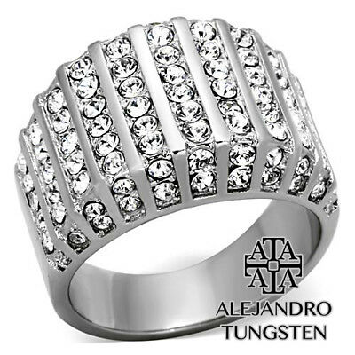 Women's Ring Wedding Round Cut Stainless Steel Wide Fashion Design Size 5 to 10